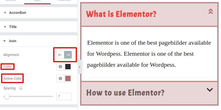 use Accordion Widget in Elementor
