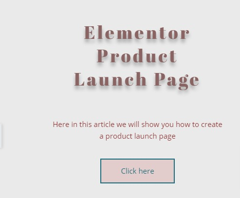 create a product launch page with Elementor free