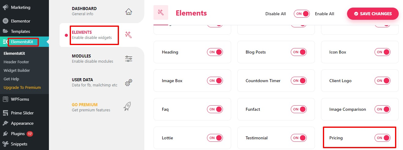 create a pricing table with Elementor free